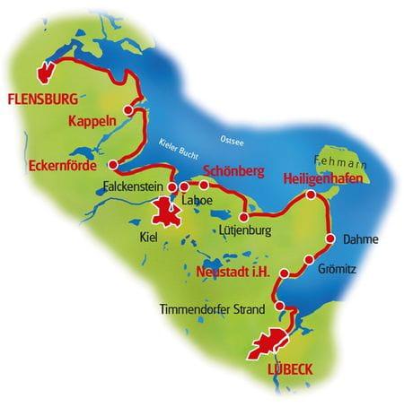 Karte Ostsee-Radweg I, Lübeck - Flensburg