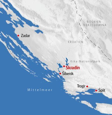 Multiaktivurlaub Dalmatien Karte