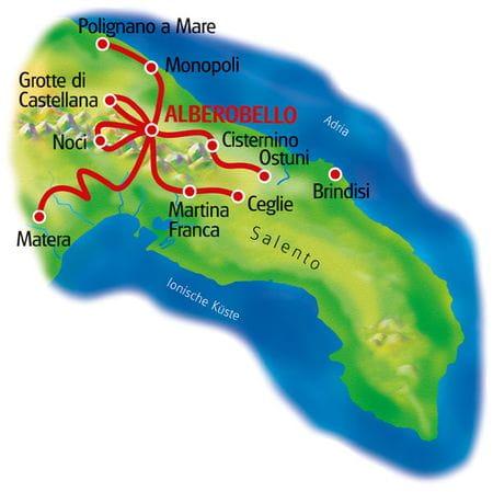 Karte Apulien Sternfahrt