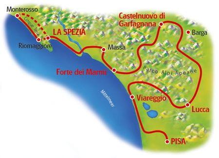 Karte Pisa - Cinque Terre