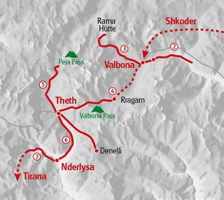 Wandern Albanien Karte
