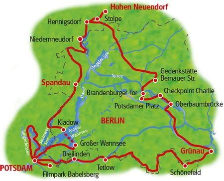 Karte Mauer-Radweg