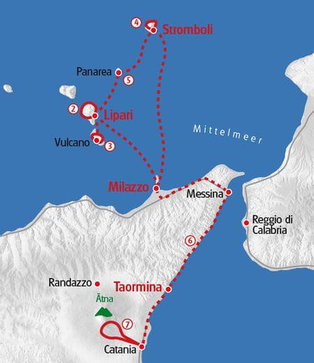 Wandern Sizilien Karte