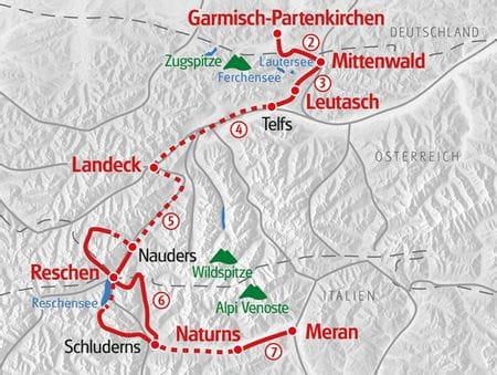 Wandern Garmisch - Meran Karte