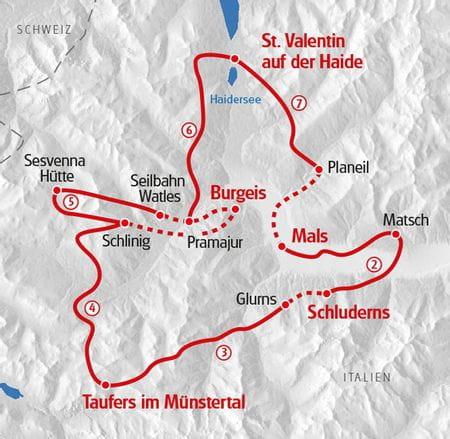 Wandern Vinschgau Karte