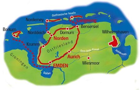 Karte Ostfriesland Inselhüpfen