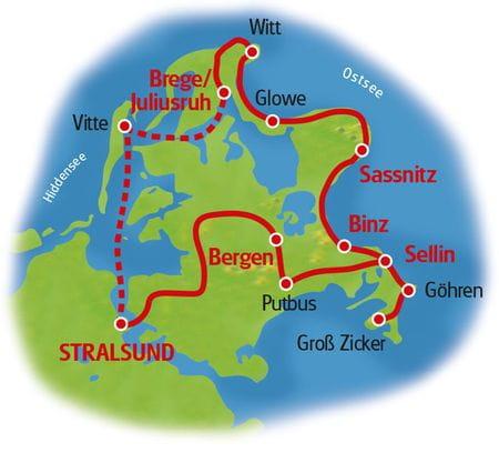 Karte Große Rügentour