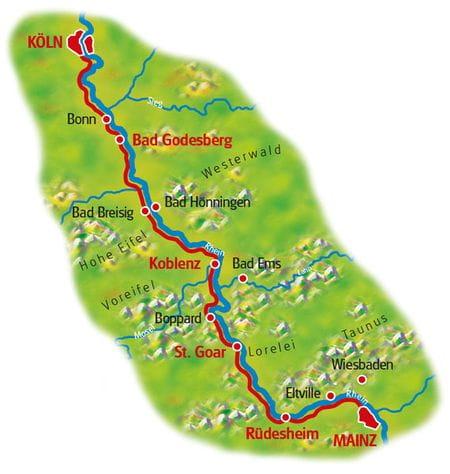 Karte Rhein-Radweg, Mainz - Köln