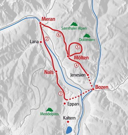 Karte Eurohike Suedtiroler Weinweg