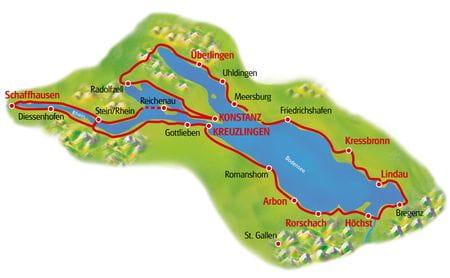 Karte Bodensee-Radtour