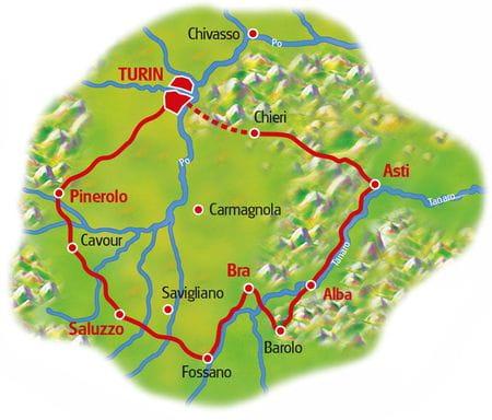 Karte Piemont Rundfahrt
