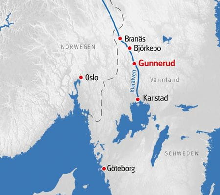 Paddelurlaub Floessen Schweden Karte