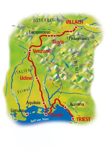 Karte Villach - Triest