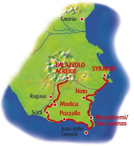 Karte Sizilien Südost