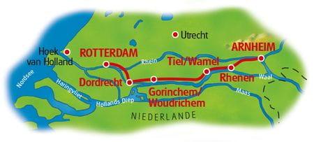 Karte Rhein-Radweg Arnheim - Rotterdam