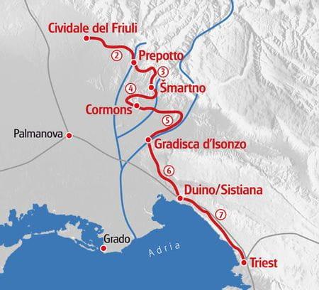 Wanderung Alpe Adria Trail Italien Karte