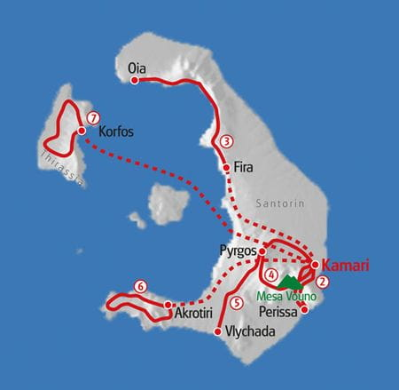 Wandern Santorin Karte