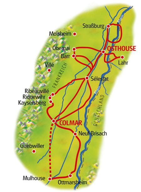 Karte Colmar Osthouse Doppelsternfahrt