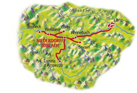 Karte Dolomiten Sternfahrt