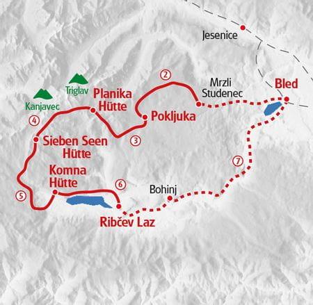 Wanderung Julische Alpen Karte