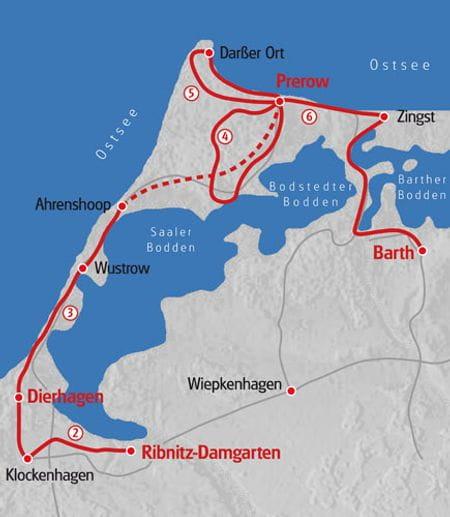 Wandern Mecklenburger Fischland Karte