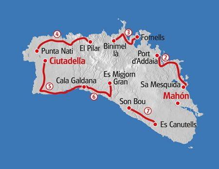 Wandern Menorca Karte