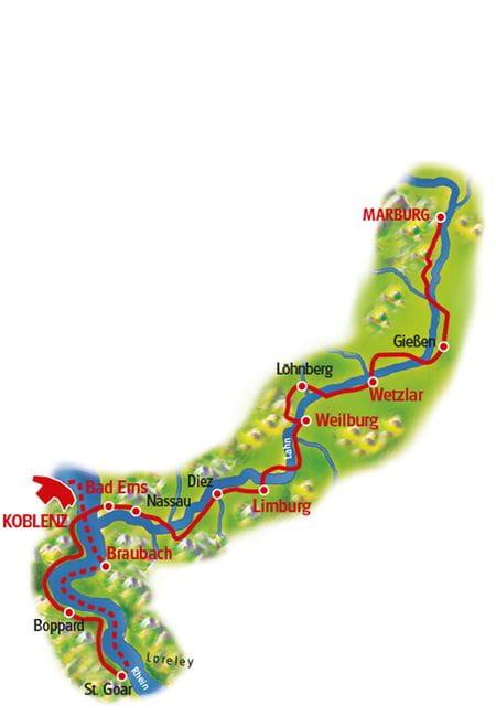 Karte Lahn-Radweg
