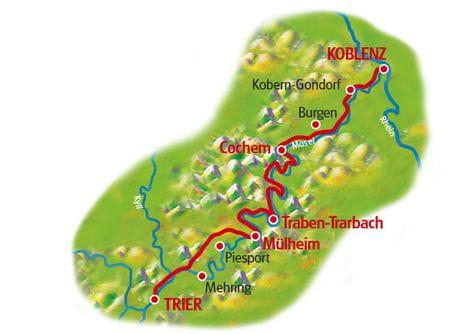 Karte Mosel-Radwge mit Charme Trier - Koblenz