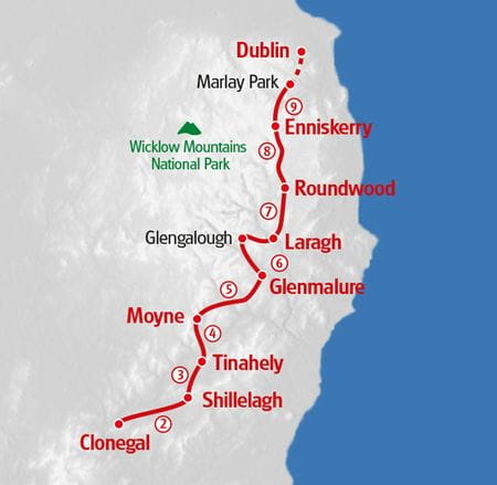 Wandern Wicklow Way Karte