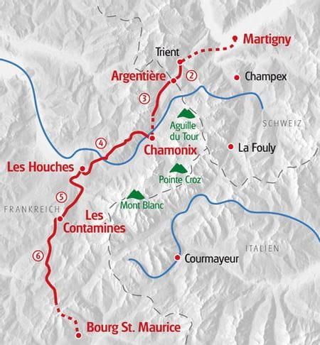 Wandern Mont Blanc West Karte