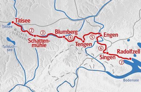 Wandern vom Schwarzwald zum Bodensee Karte