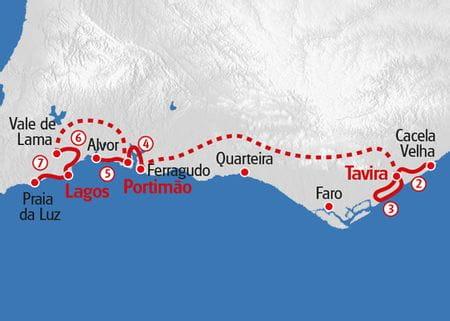 Wandern Algarve Küste Karte