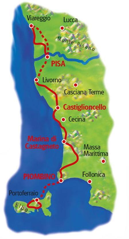 Map Tuscany coast line