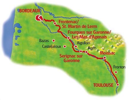 Karte Bordeaux - Toulouse