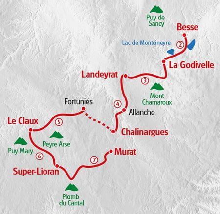 Wandern Auvergne Karte