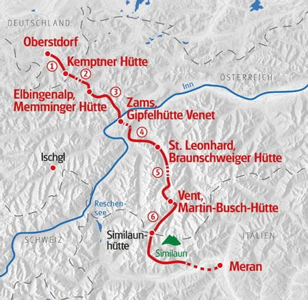 Wandern Alpenueberquerung - Oberstdorf - Meran Karte