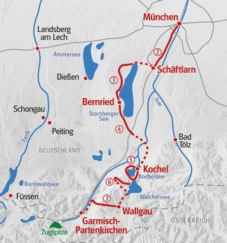 Wandern Muenchen - Garmisch Karte