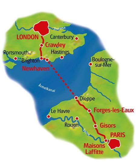 Karte Paris - London