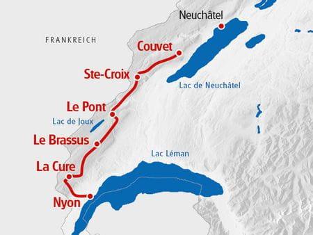 Karte Jura Höhenweg Süd
