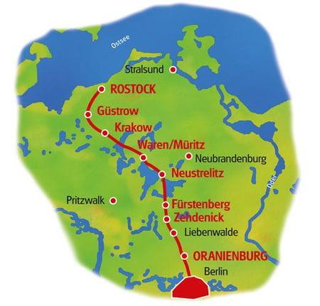 Karte Berlin - Rostock