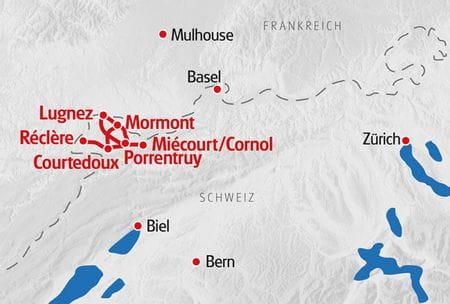 Pferdeabenteuer Planwagen Jura Karte