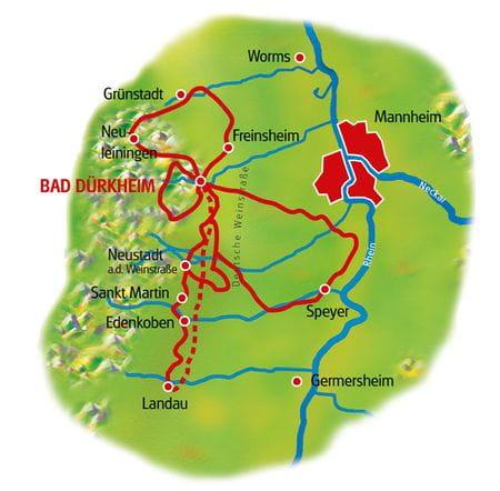 Karte Pfälzer Weinsternfahrt