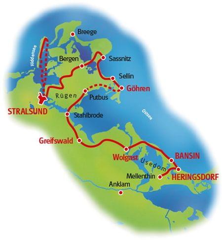 Radreise Drei Inseln - Karte