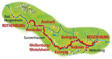 Karte Rothenburg - Regensburg