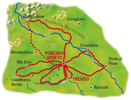 Karte Prosecco Sternfahrt