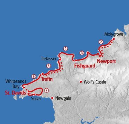 Wandern Pembrokshire Wales Karte