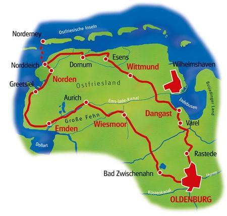 Karte Ostfriesland Rundfahrt