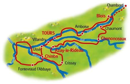 Karte Schlösser der Loire