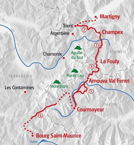 Wandern Mont Blanc Ost Karte