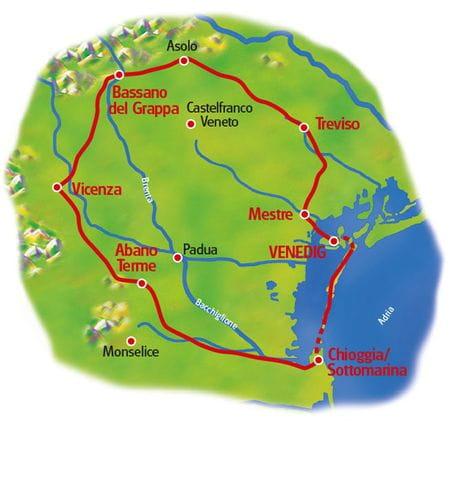Karte Venetien Rundfahrt